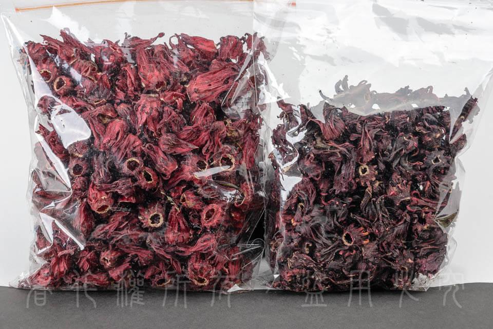 台東乾燥洛神花與進口乾燥洛神花對照圖